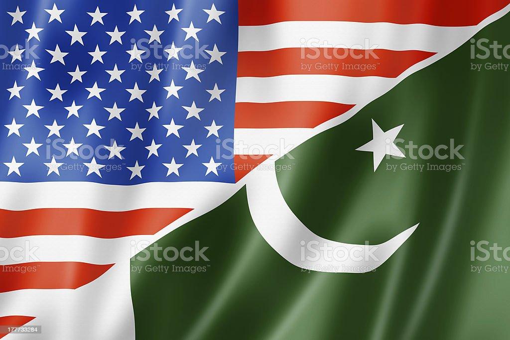 USA and Pakistan flag royalty-free stock photo