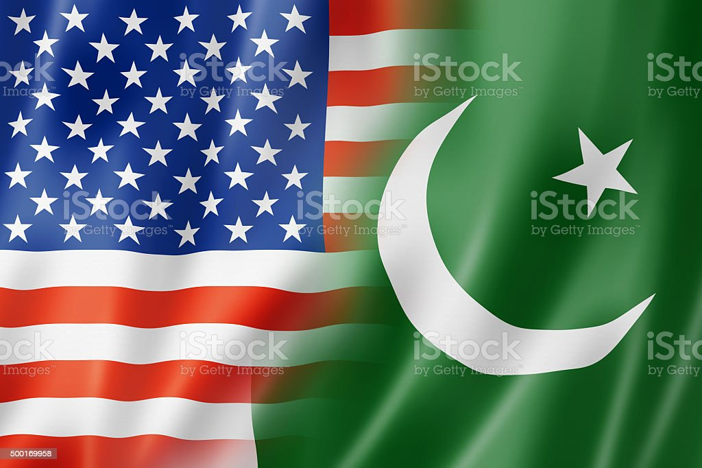 USA and Pakistan flag stock photo