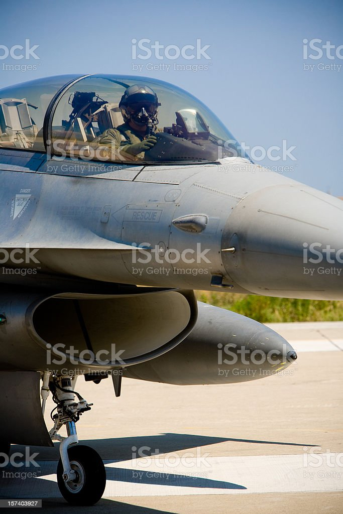 F16 and pilot royalty-free stock photo
