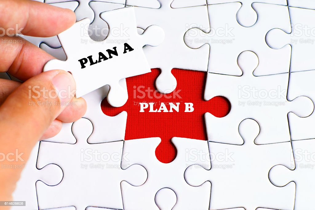 'PLAN A and PLAN B' word on missing puzzle stock photo
