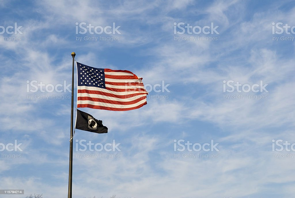 US and POW-MIA flag stock photo