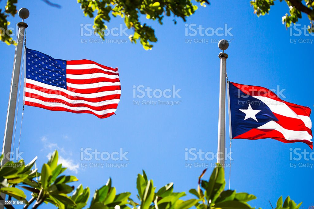US and Puerto Rico Flags stock photo