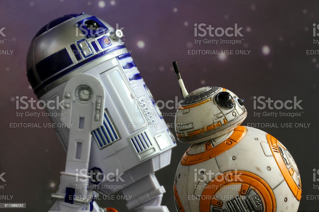 BB8 and R2 stock photo