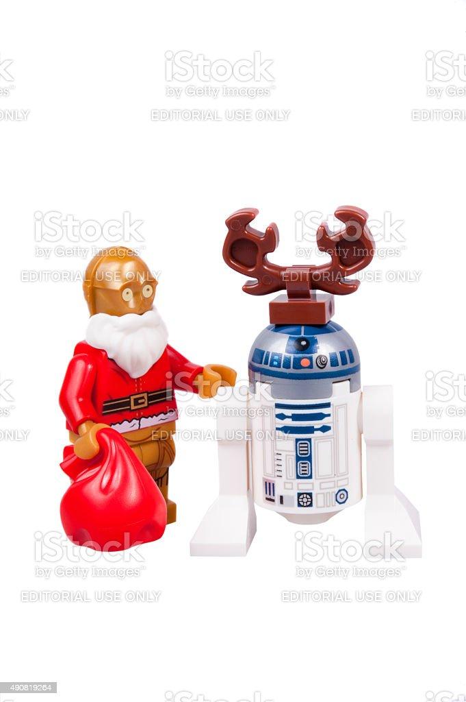 C3-PO and R2-D2 Christmas Lego Minifigure stock photo