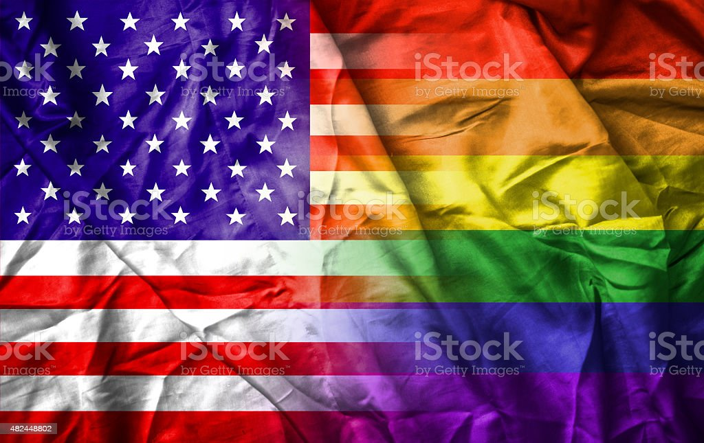 USA and rainbow gay pride flag stock photo