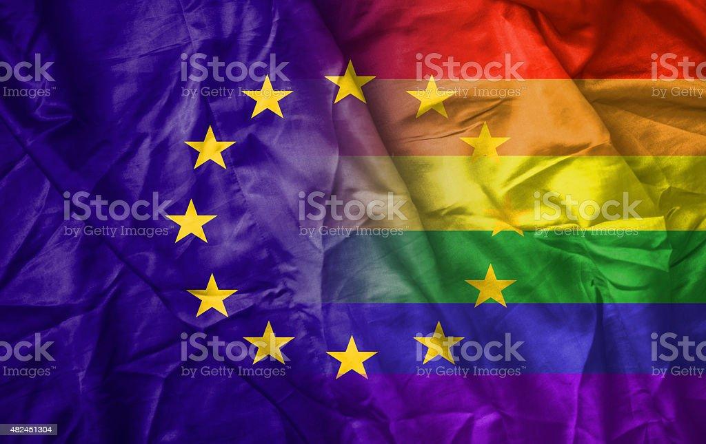 EU and rainbow gay pride flag stock photo