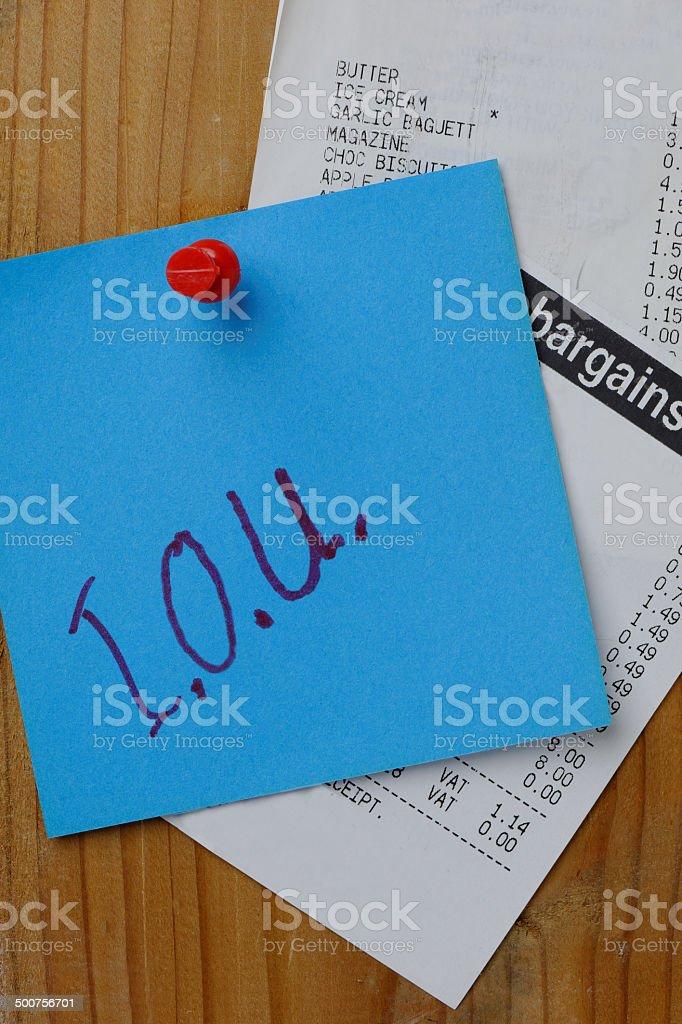 I.O.U and receipts stock photo