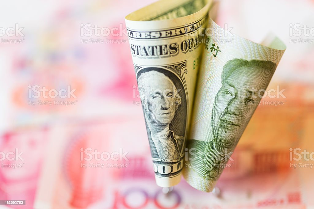 USD and  RMB Currencies stock photo