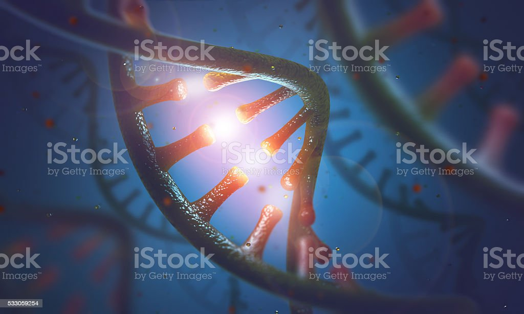 DNA and RNA molecules stock photo