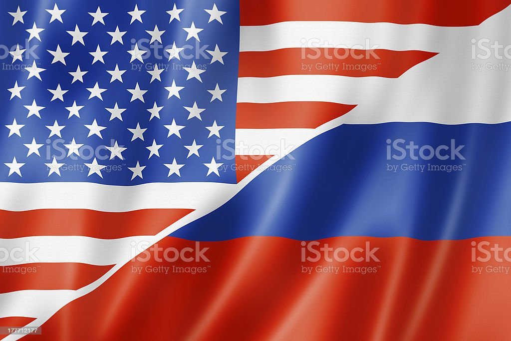 USA and Russia flag stock photo