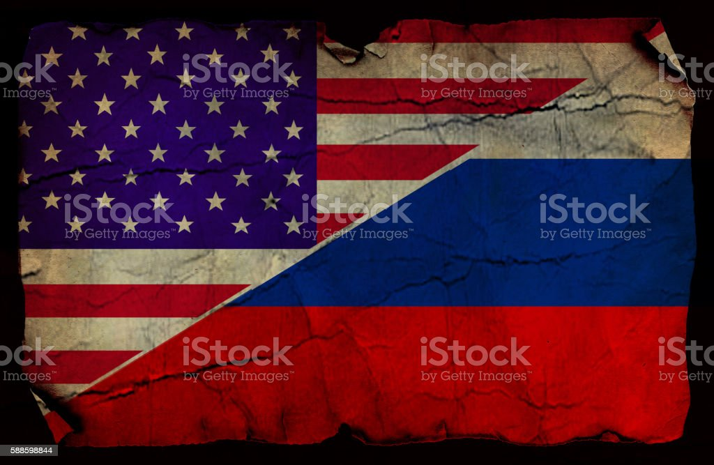 USA and  Russian flag stock photo