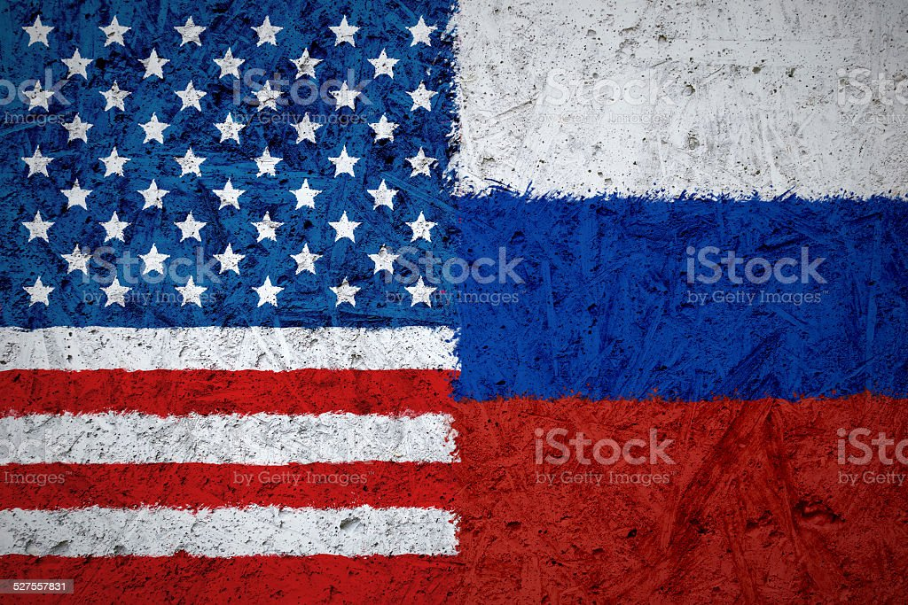 USA and Russian flags stock photo