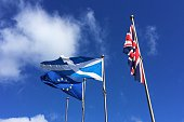 EU and Scotland flags flying and drooping UK flag - Brexit