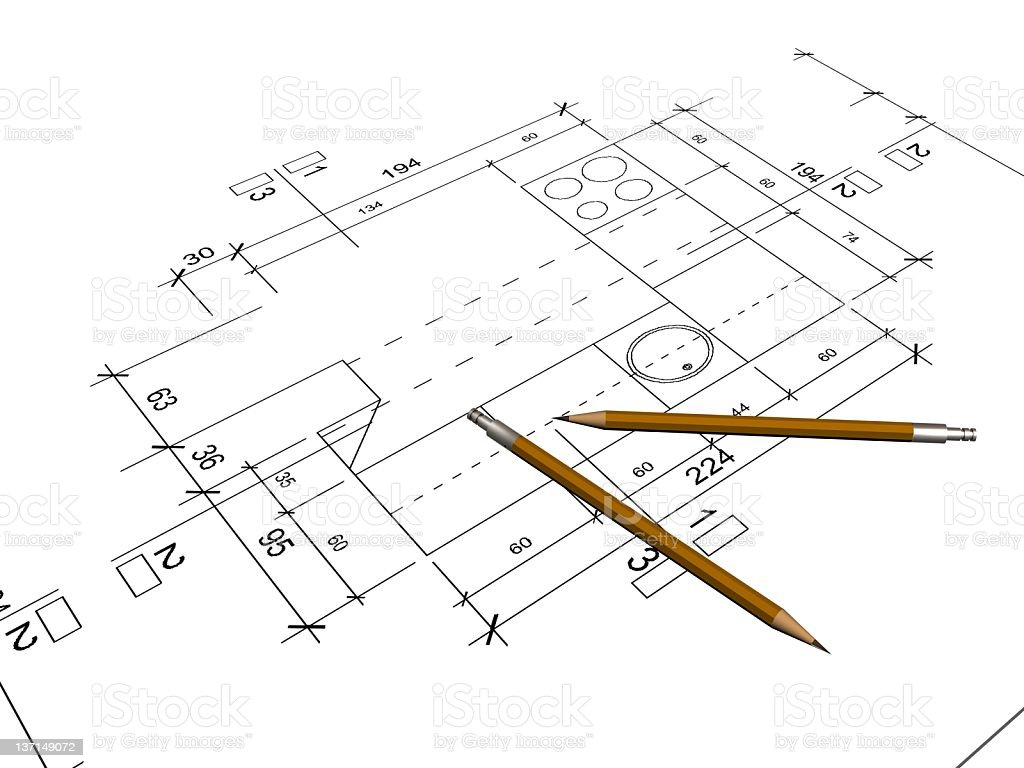 PENCILS and SITE PLAN royalty-free stock photo
