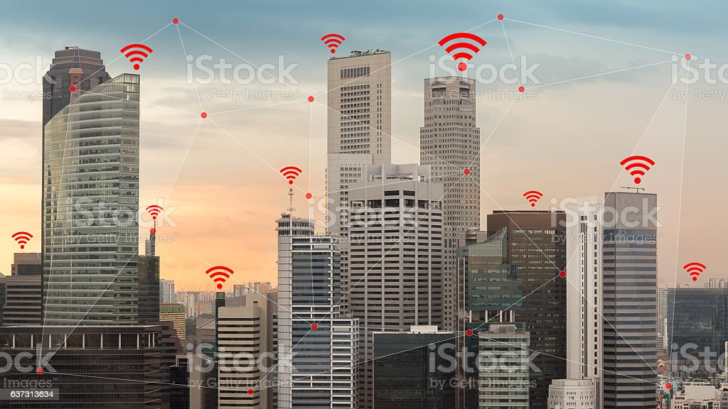 IOT and Smart City Concept Illustrated by Wireless Networking Wifi stock photo