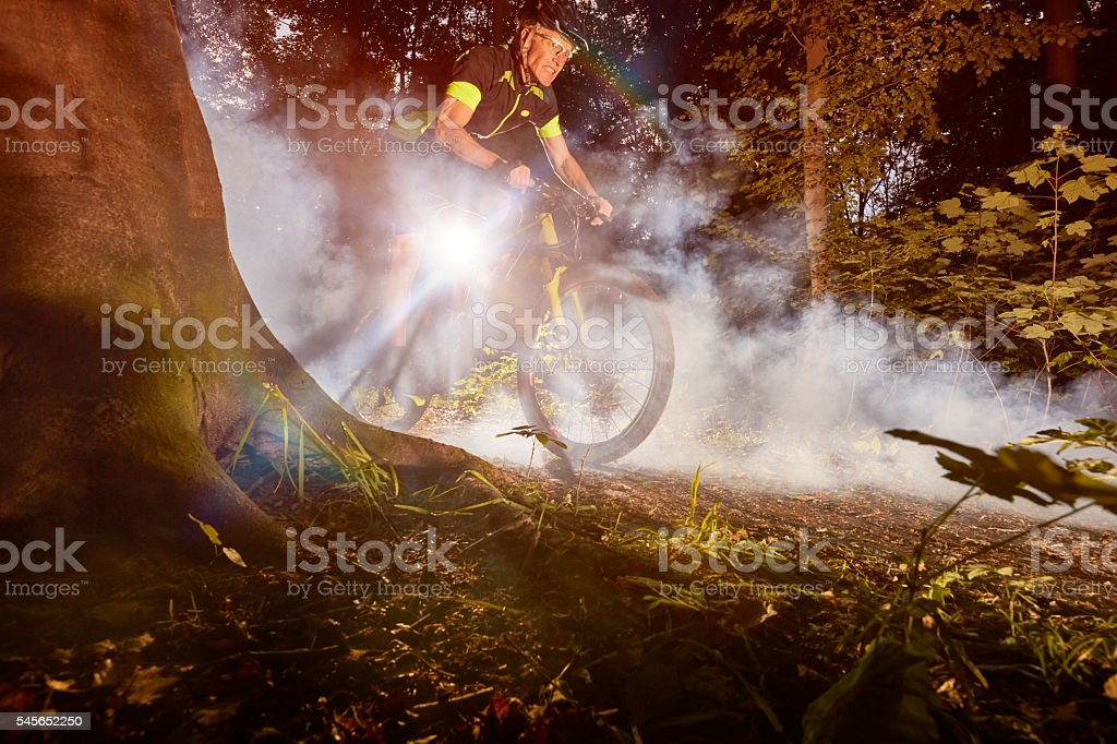 MTB and smoke stock photo