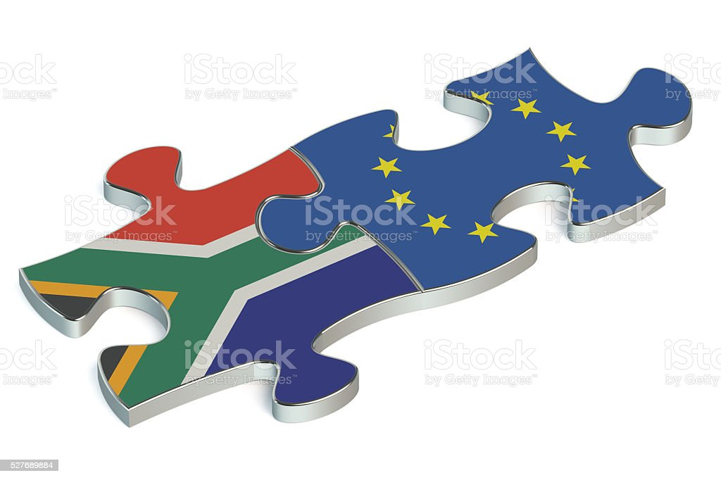 EU and South Africa puzzles from flags stock photo