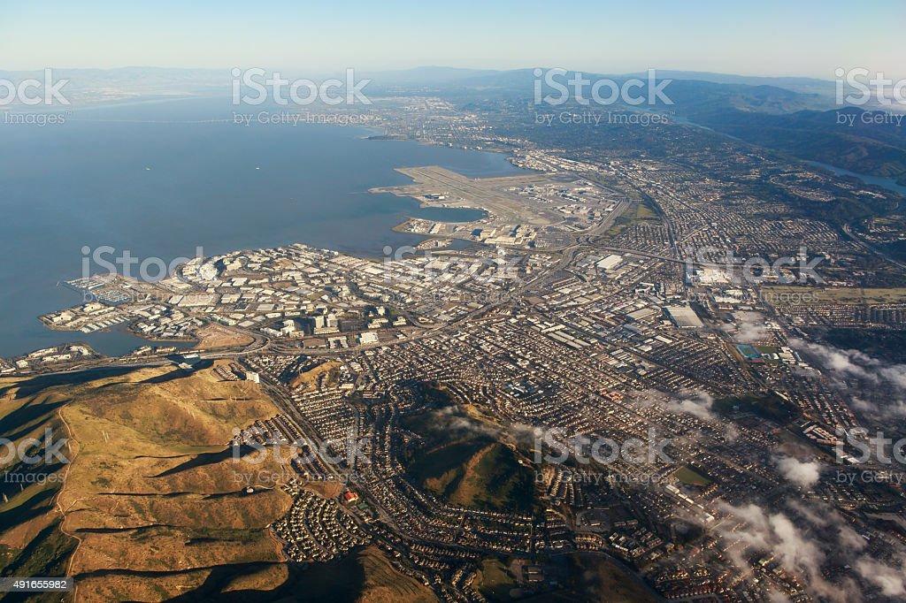 SFO and South San Francisco stock photo