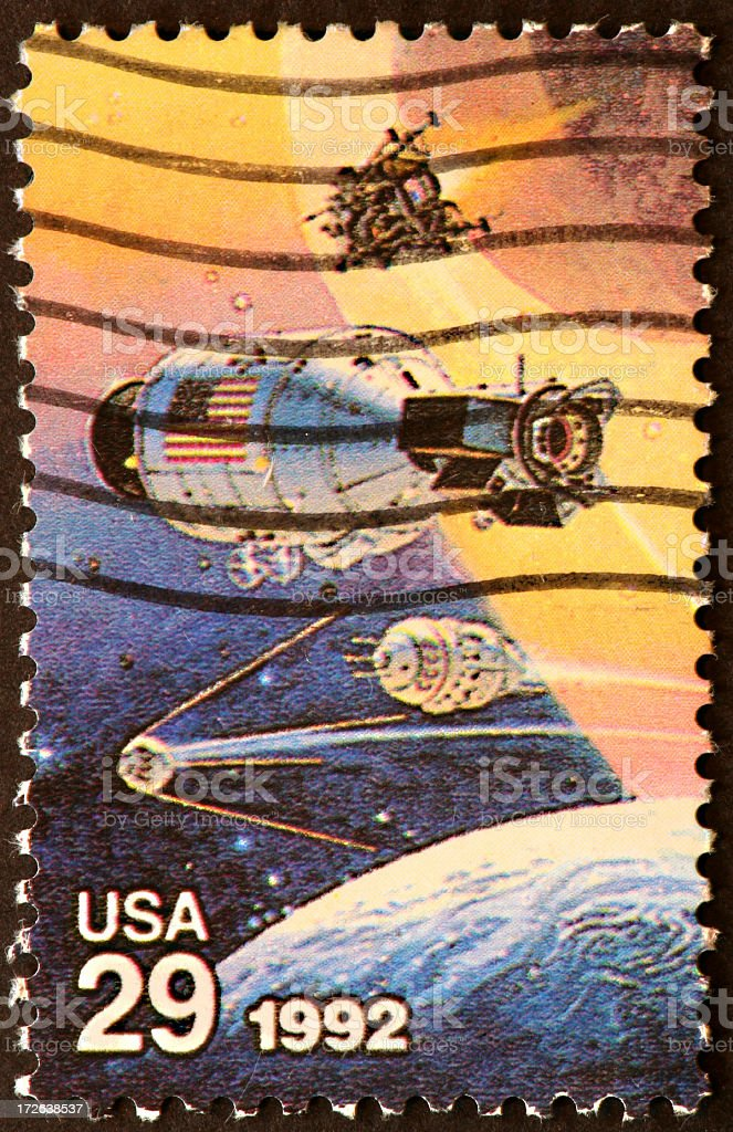 US and Soviet space stamp stock photo