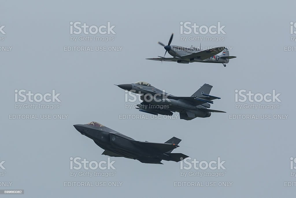 F-35A, F-16AM and Spitfire in formation stock photo