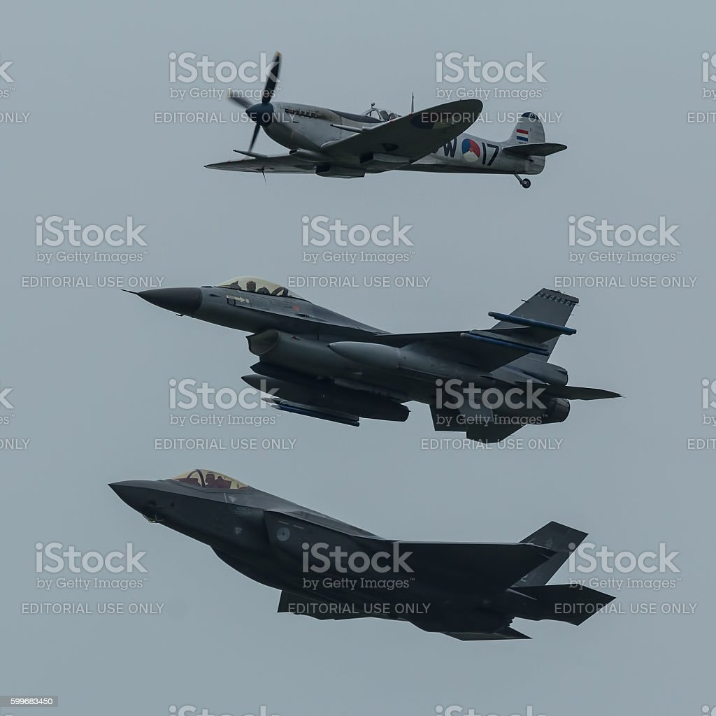 F-35, F-16  and Spitfire in formation stock photo