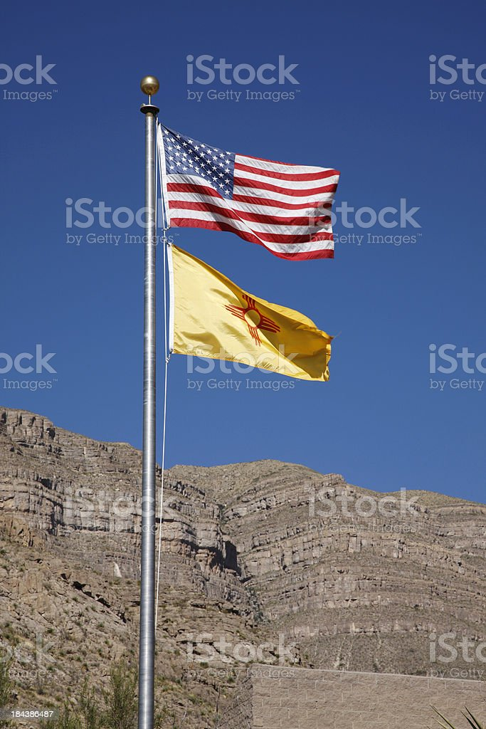 USA and State of New Mexico Flags stock photo