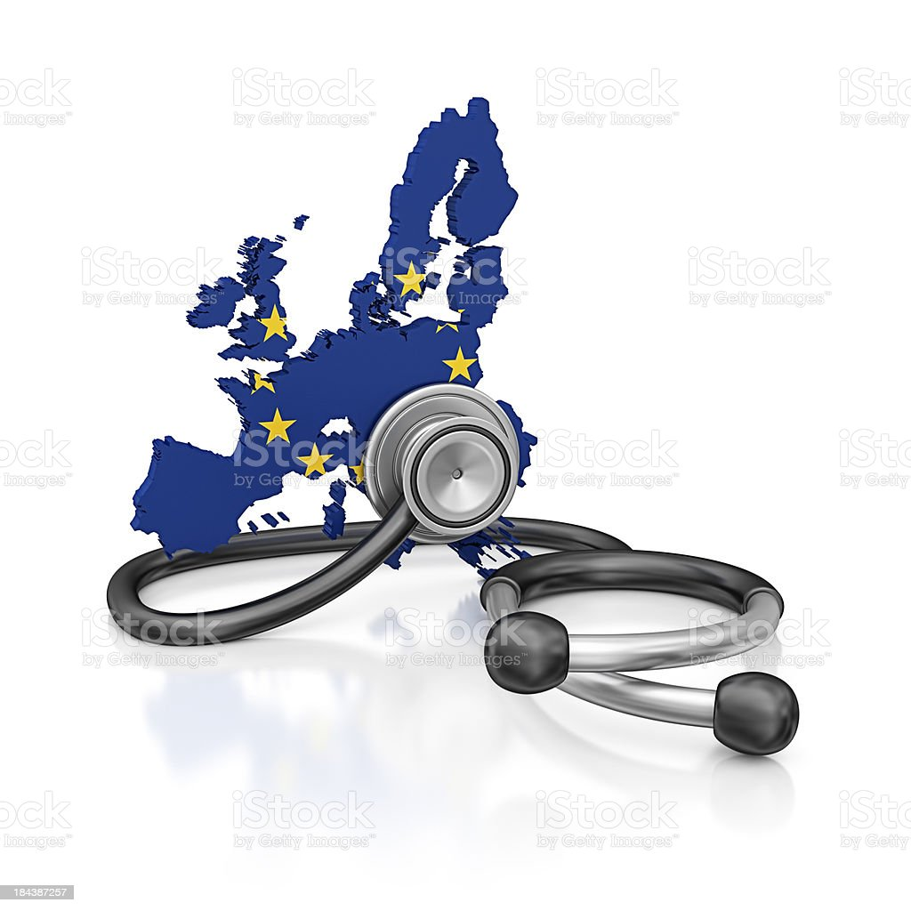 EU and stethoscope royalty-free stock photo