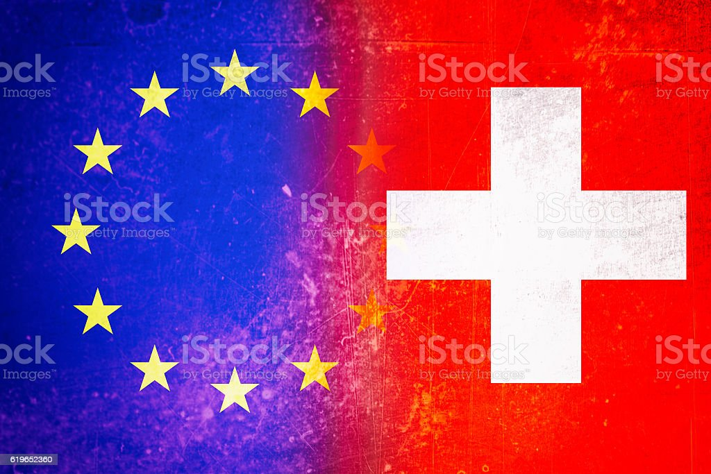 EU and Swiss flag stock photo