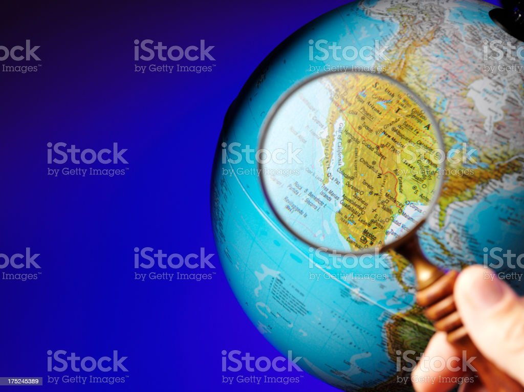 USA and the Gulf of California through a Magnyfing Glass stock photo