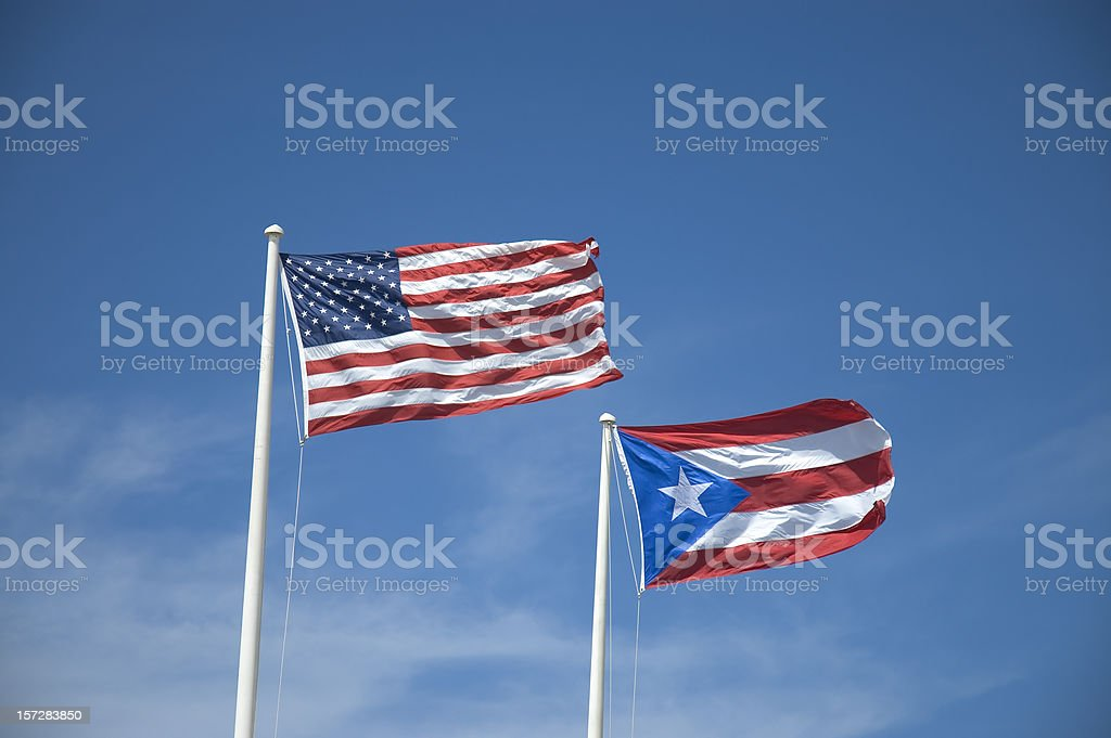 U.S. and the Puerto Rican Flag stock photo