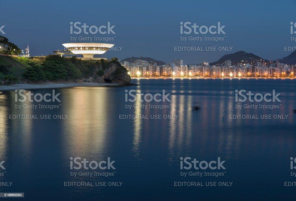 MAC and the shore of Niteroi stock photo