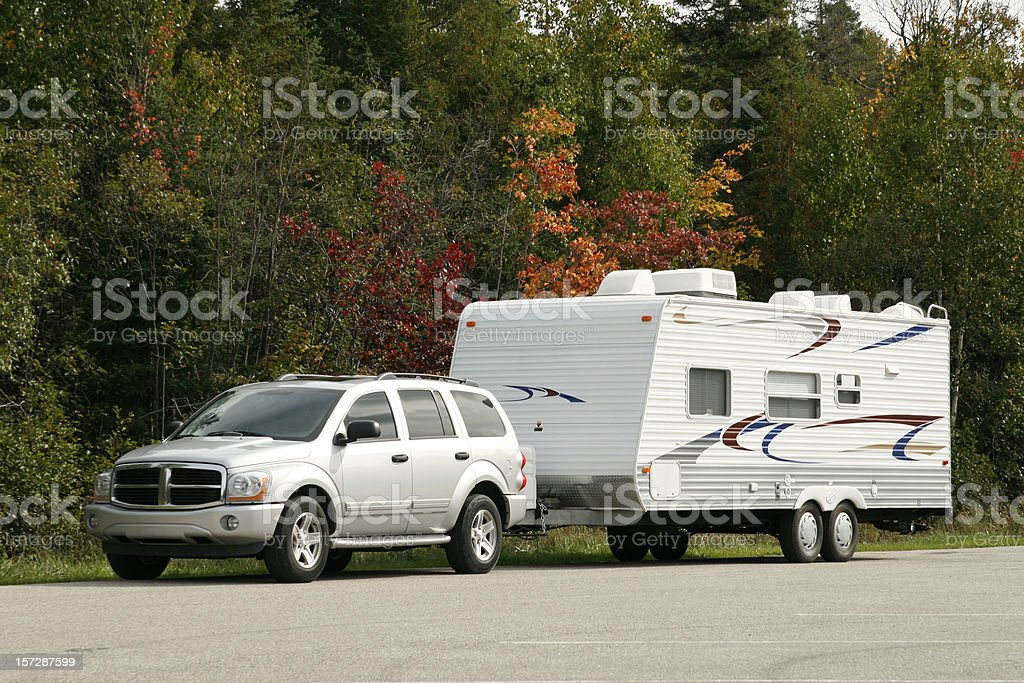 SUV and Tow Trailer stock photo