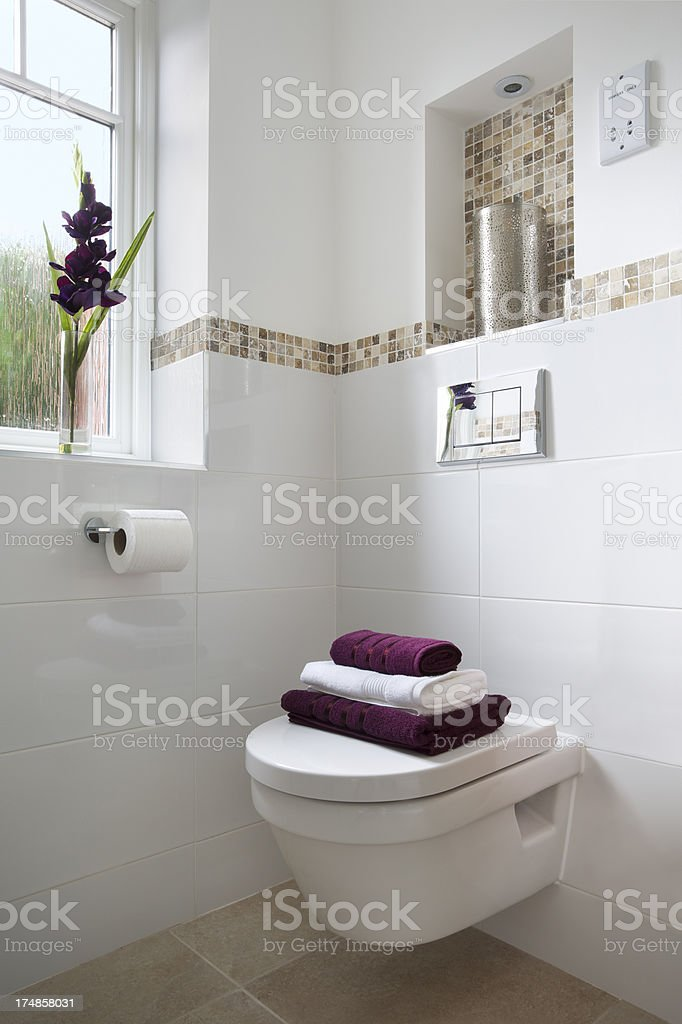 WC and towels stock photo