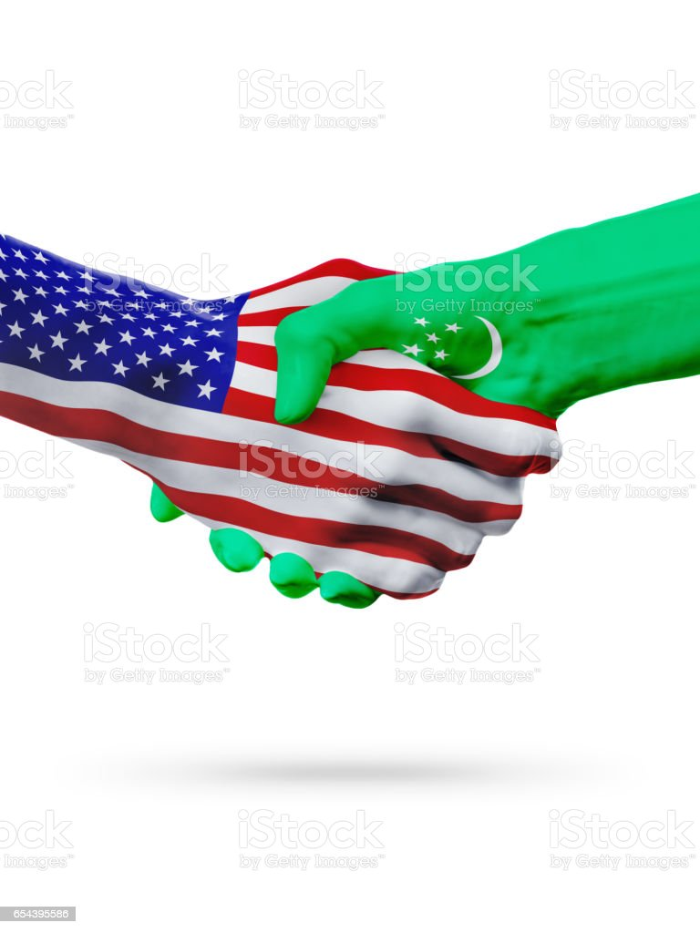USA and Turkmenistan flags concept cooperation, business, sports competition stock photo