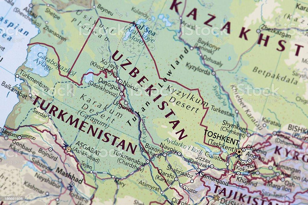 UZBEKISTAN and TURKMENISTAN royalty-free stock photo
