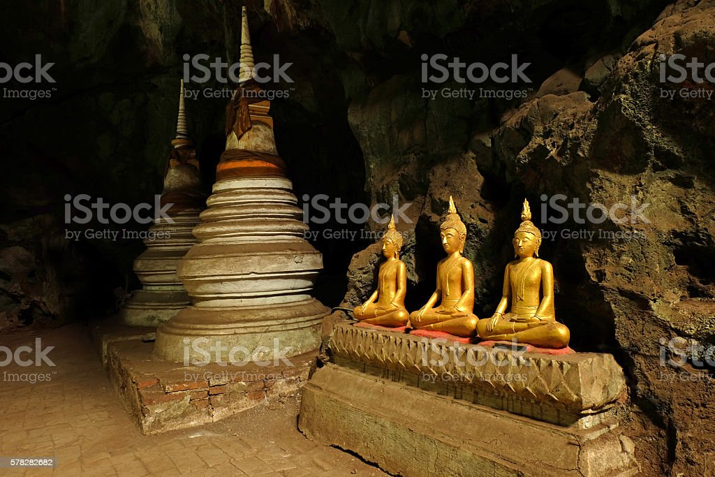 THREE BUDDHA and TWO PAGODA stock photo
