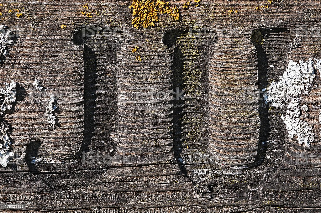 J and U Carved into Lichen Covered Board royalty-free stock photo