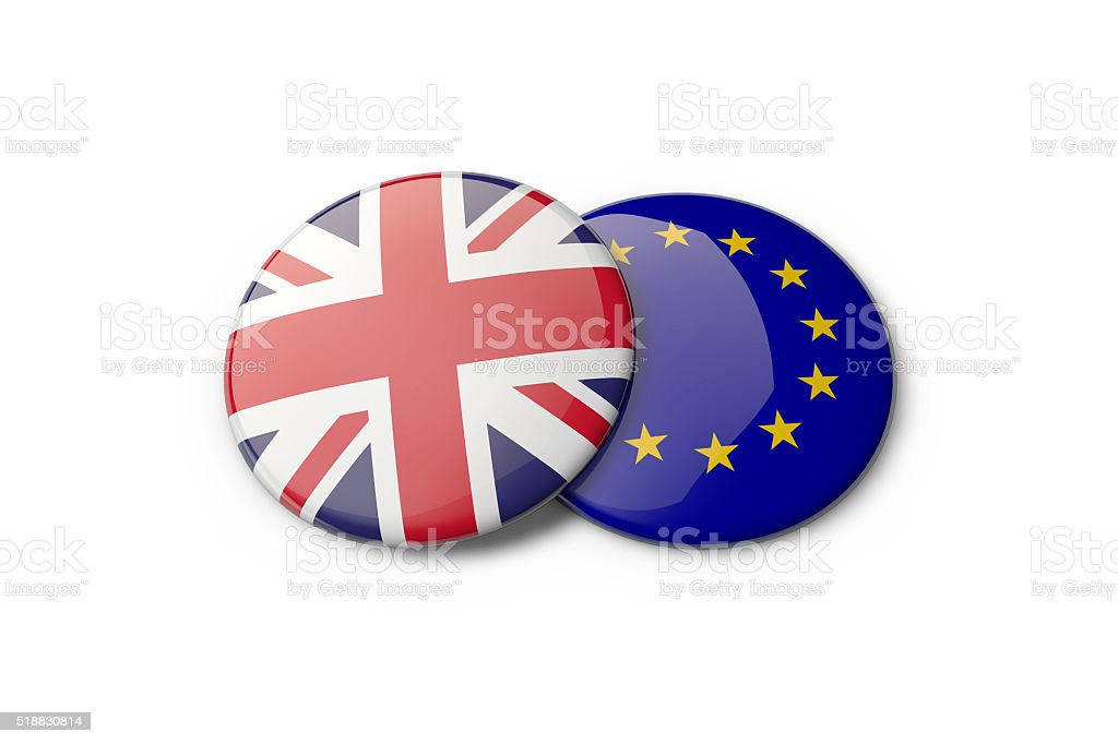 EU and UK concept stock photo