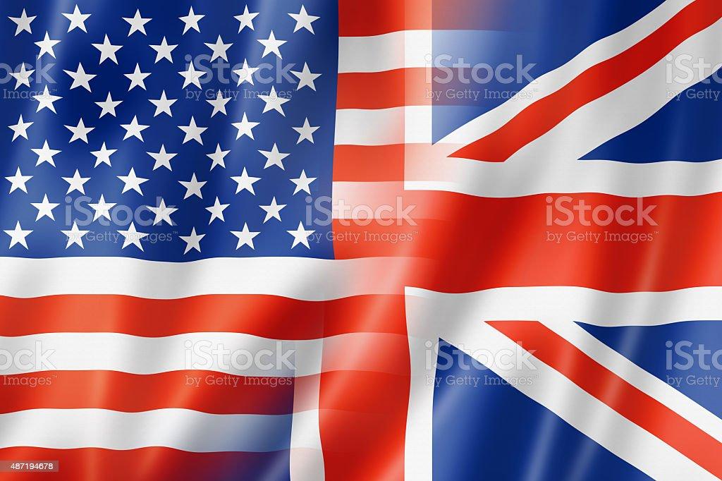 USA and UK flag stock photo
