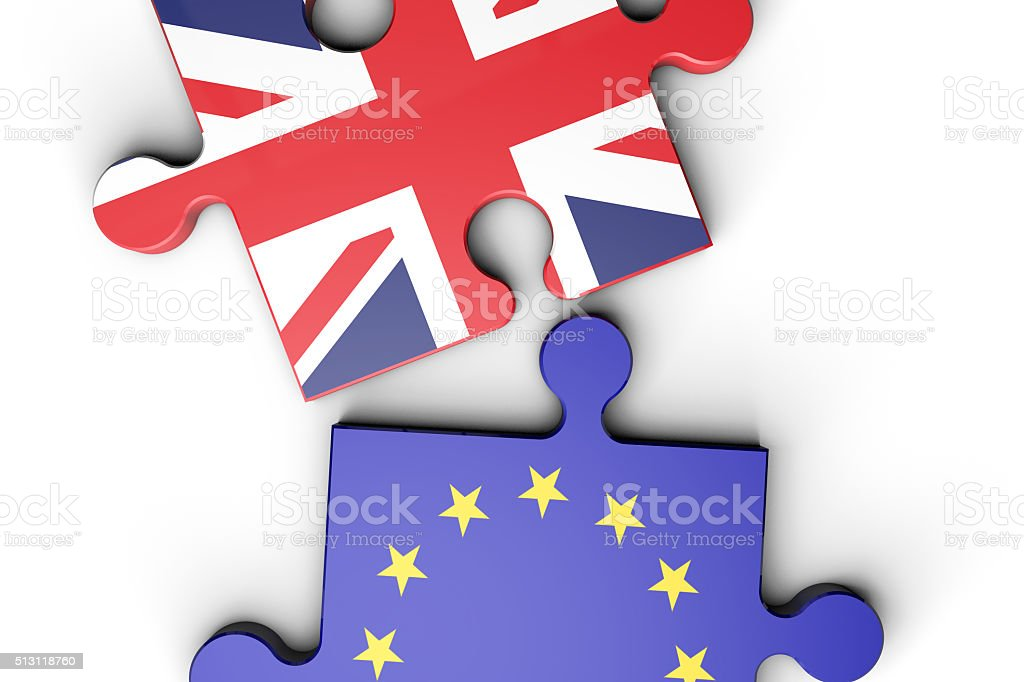 EU and UK flag puzzle pieces stock photo