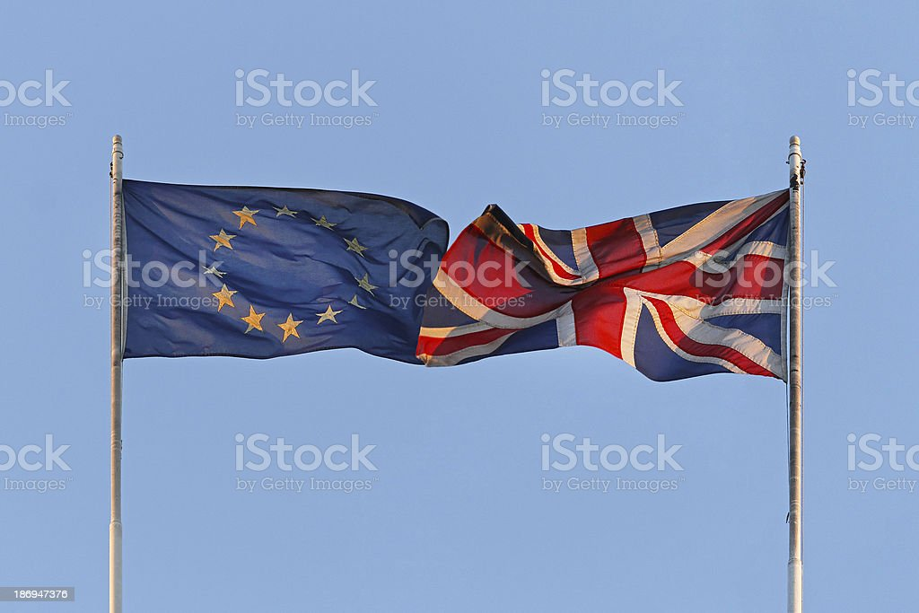 EU and UK flags royalty-free stock photo