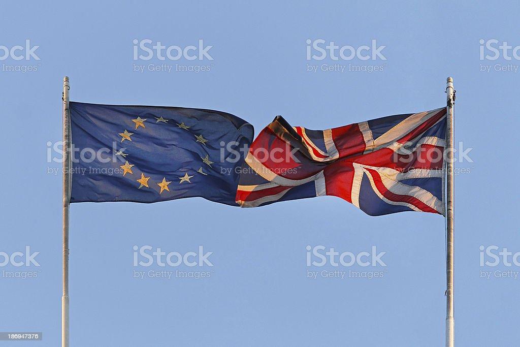 EU and UK flags stock photo