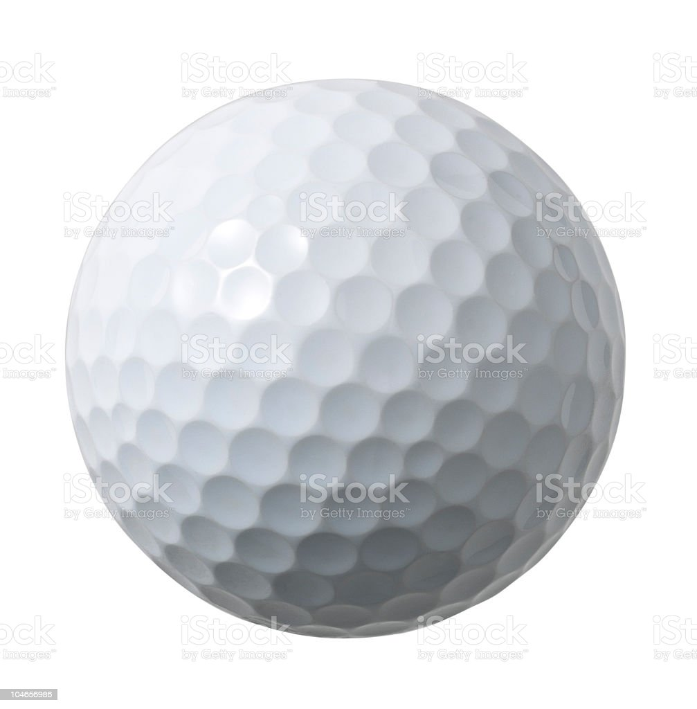 And up close picture of a white golf ball stock photo