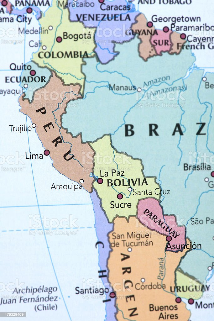 PERU, BOLIVIA, PARAGUAY, ECUADOR and URUGUAY royalty-free stock photo