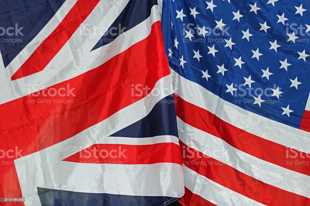 UK and USA flags stock photo