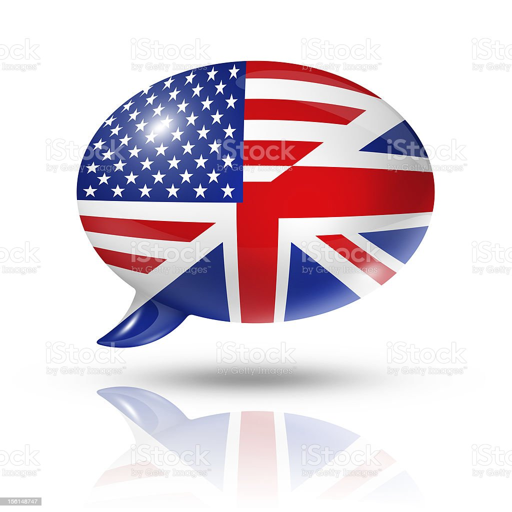 UK and USA flags speech bubble royalty-free stock photo