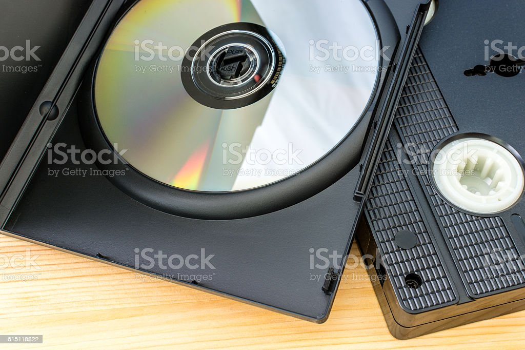 DVD and VHS Cassette Tape stock photo