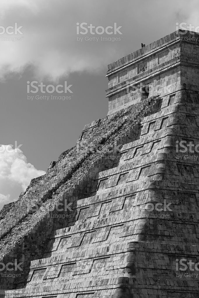 B and W Chichen Itza royalty-free stock photo