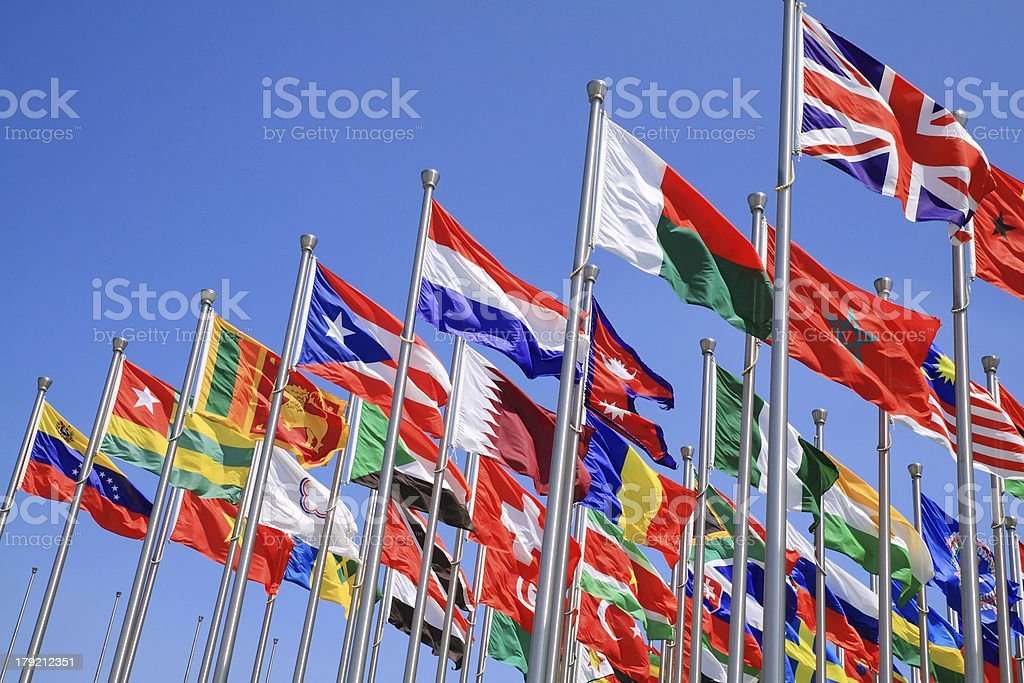 UK and world national flags stock photo