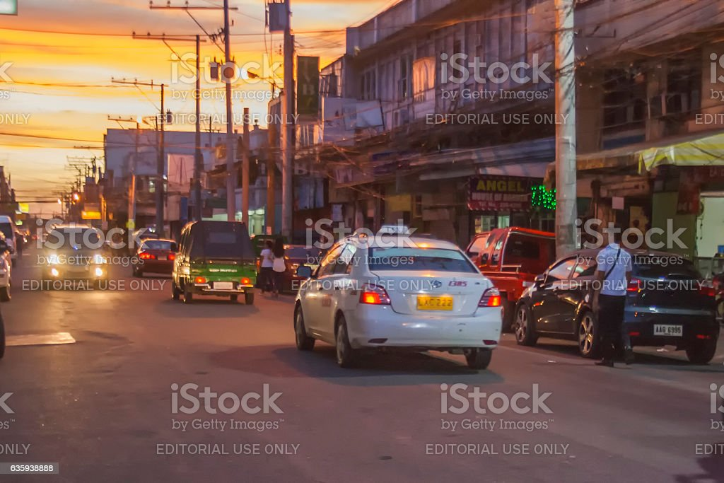 Anda Street in Davao City at dawn stock photo